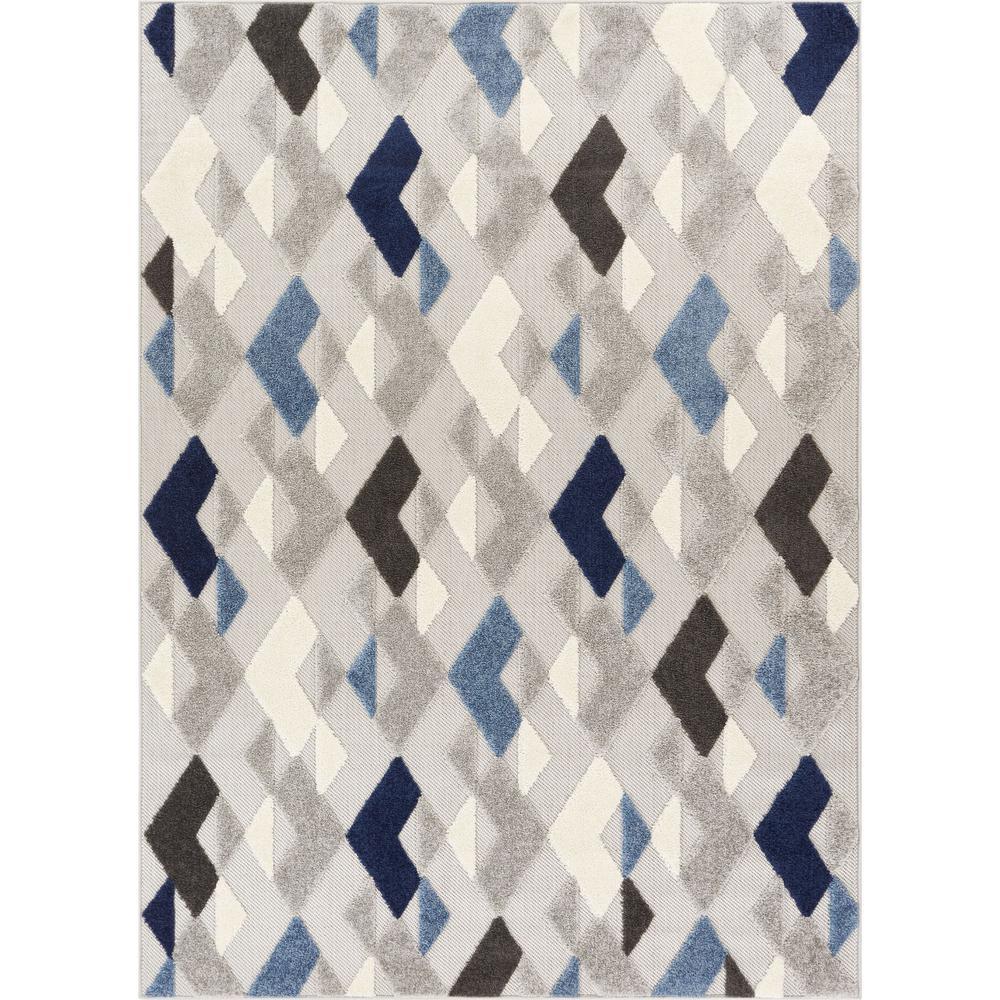Dorado Beni 5 ft. 3 in. x 7 ft. 3 in. Modern Geometric Mosaic Blue High-Low Indoor/Outdoor Area Rug