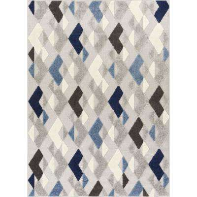 Dorado Beni 7 ft. 10 in. x 9 ft. 10 in. Modern Geometric Mosaic Blue High-Low Indoor/Outdoor Area Rug