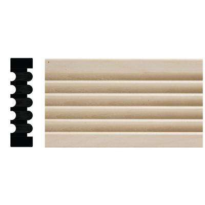 819D-7 3/4 in. x 3 in. x 84 in. White Hardwood Reversible Fluted Beaded Casing Moulding