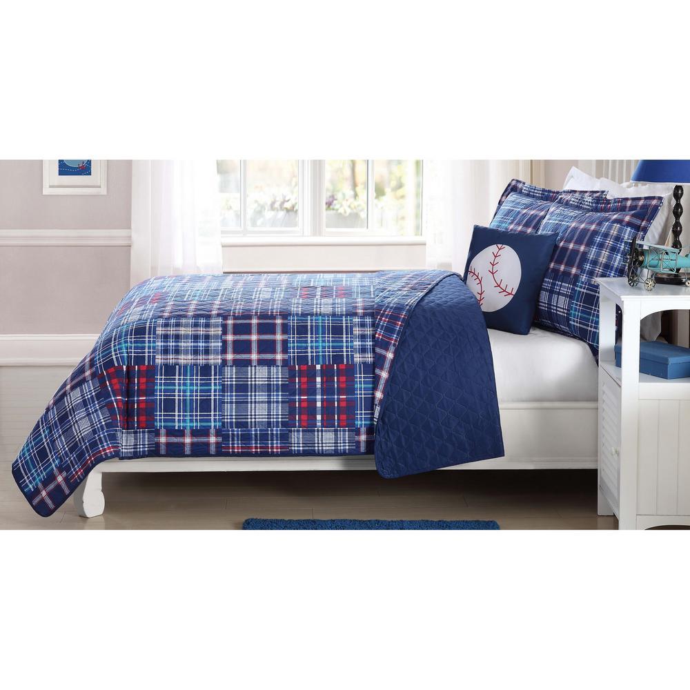 Navy Plaid Patch Blue Twin Quilt Mini Set with Bonus Decorative Pillow