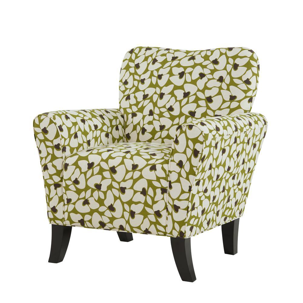 Dantana Apple Green and Cream Modern Floral Print Arm Chair