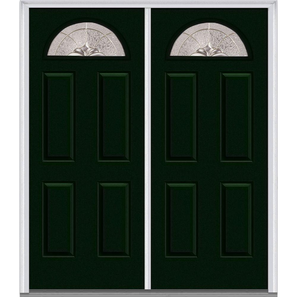 60 in. x 80 in. Heirlooms Left-Hand Inswing Fan Lite Decorative Painted Fiberglass Smooth Prehung Front Door