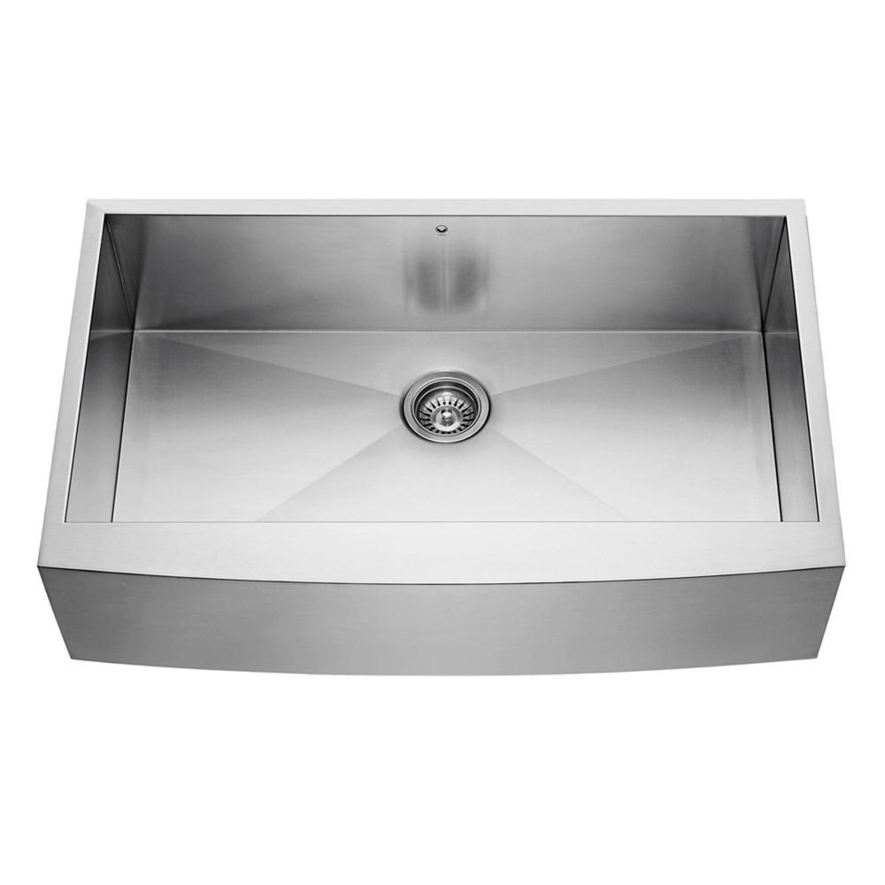 VIGO Farmhouse Apron Front Stainless Steel 36 in. Single Bowl ...