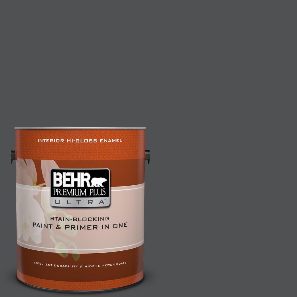1 gal. #BXC-30 Black Space Hi-Gloss Enamel Interior Paint