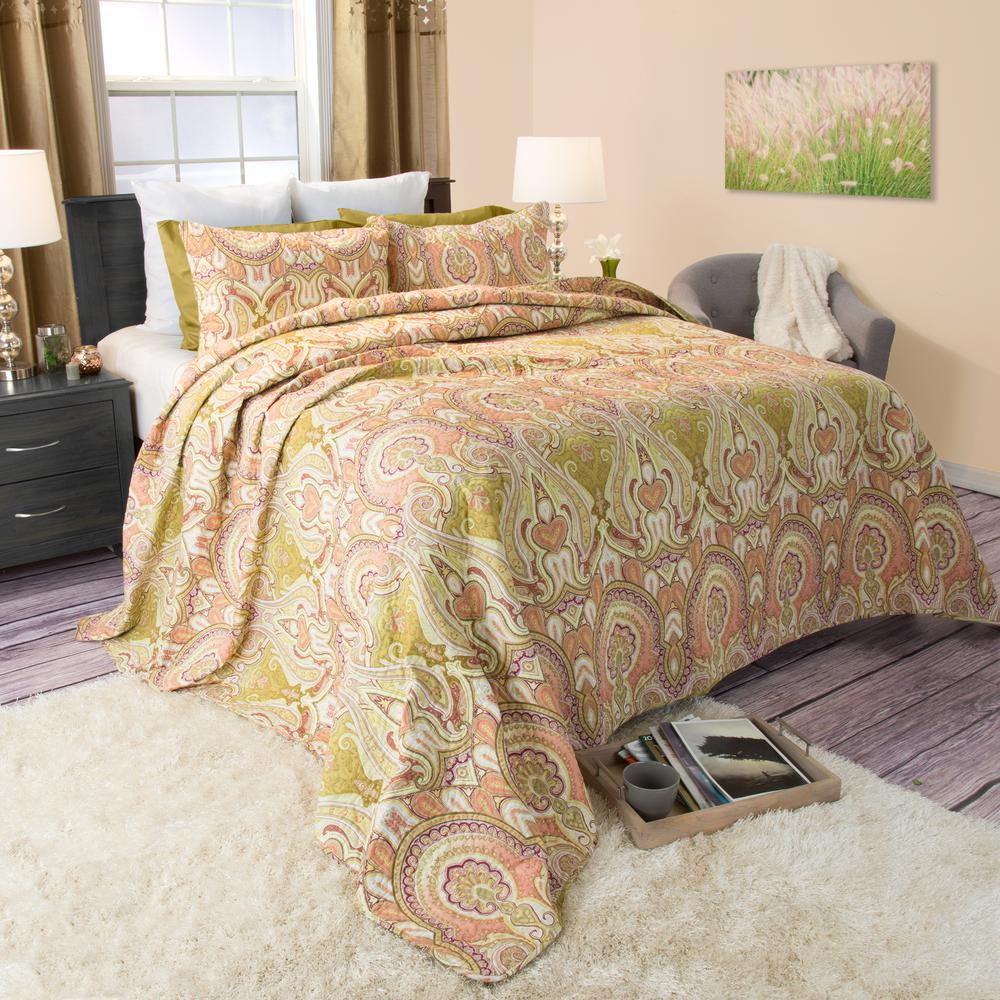 Ava Yellow Cotton King Quilt