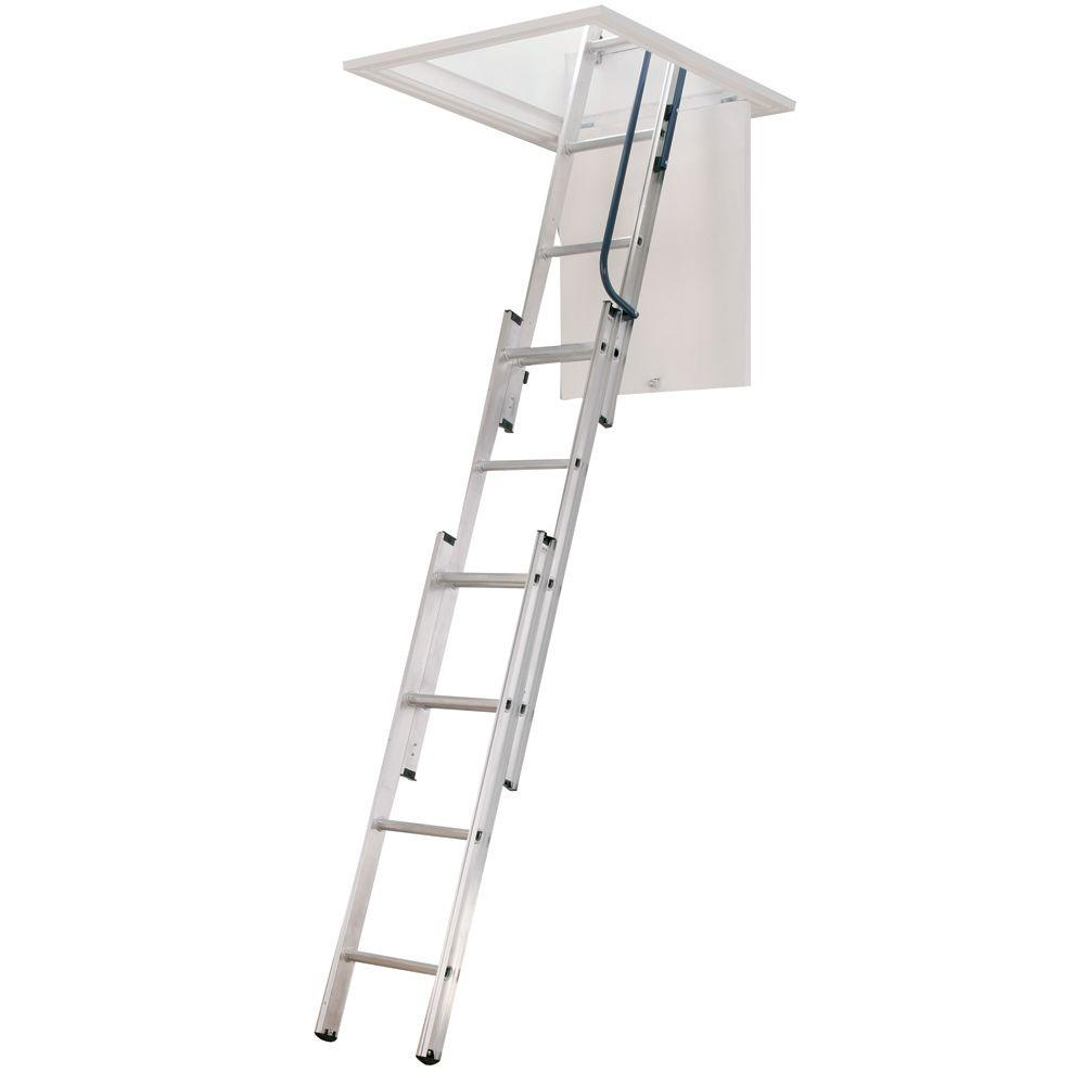 7 ft. - 9 ft, 18 in. x 24 in. Compact Aluminum Attic Ladder with 250 lb. Maximum Load Capacity