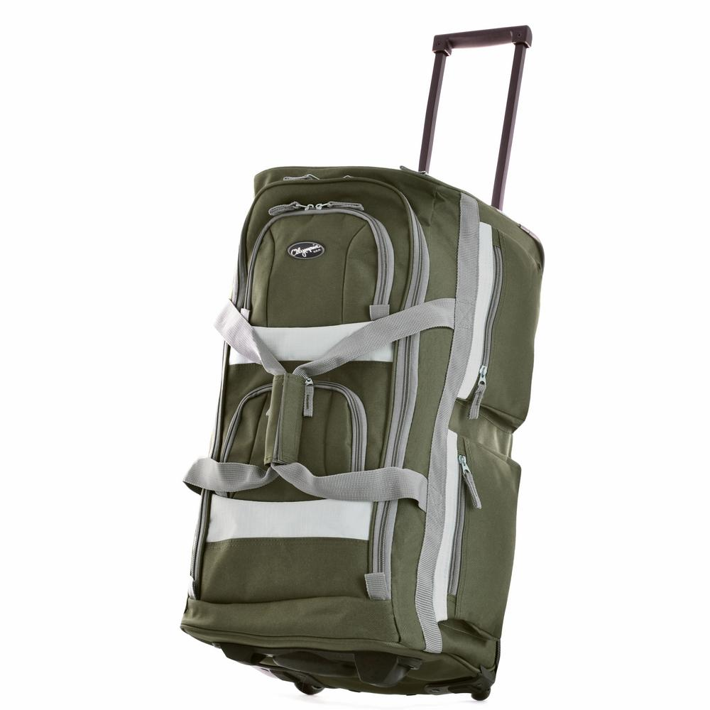 26 in. Green 8-Pocket Rolling Duffel