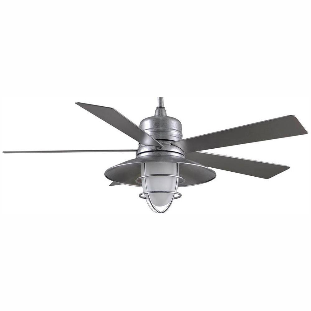 Home Decorators Collection Grayton 54 In Led Indoor Outdoor Galvanized Ceiling Fan With Light Kit And Remote Control