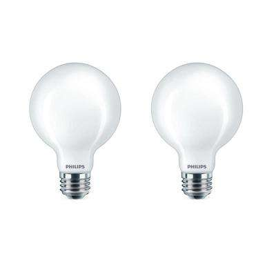 40-Watt Equivalent G25 Dimmable LED Light Bulb Soft White Frosted Globe (2-Pack)