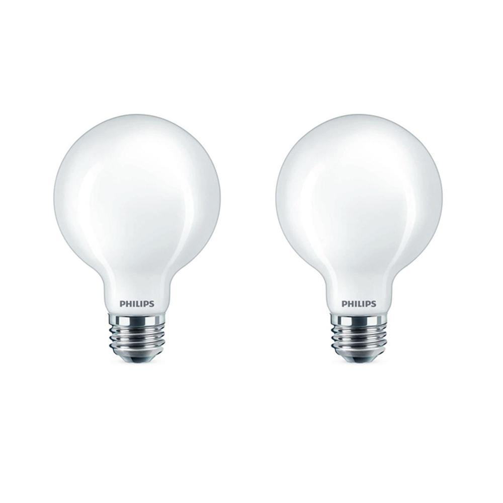 40-Watt Equivalent G25 Dimmable LED Light Bulb Soft White Frosted Globe (2-Pack)