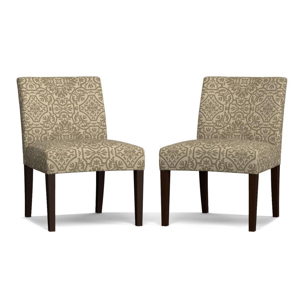 Nate Barley Gray Damask Side Chairs (Set of 2)