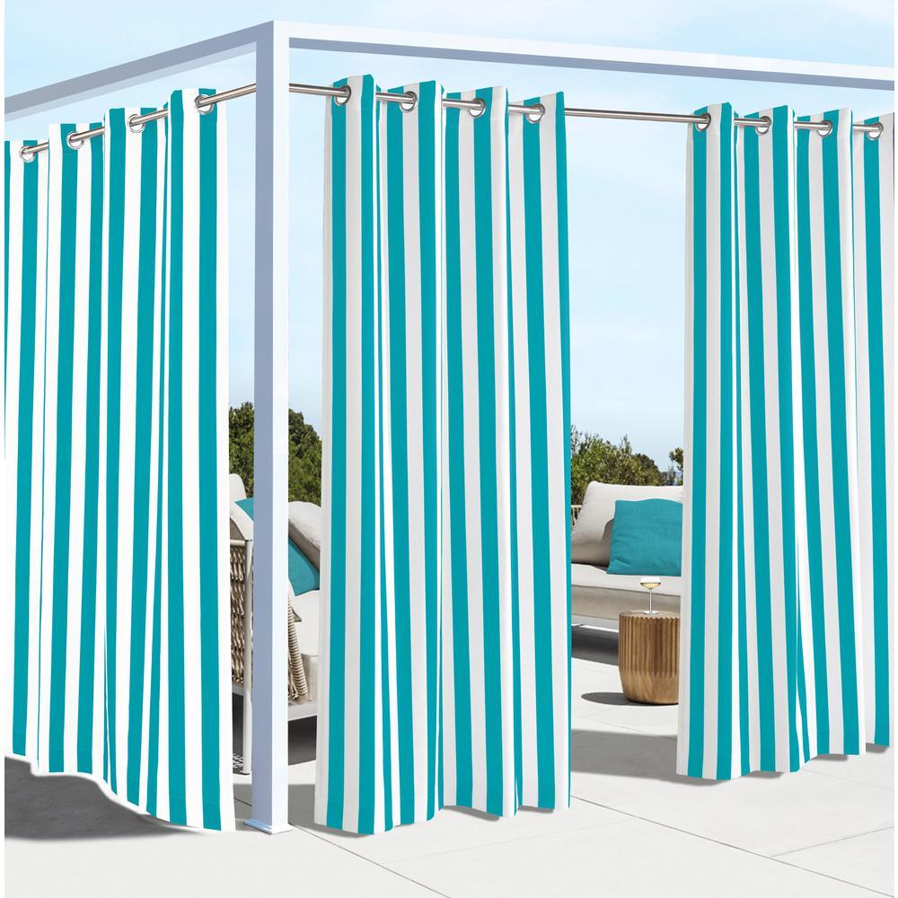 Coastal Stripe Aqua - 50 in. W x 108 in. L - Outdoor Light Filtering Window Panel