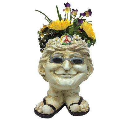 13 in. H Hippie Chick Janice Antique White Muggly Face Planter in Groovy 1960's Attire Statue Holds 4 in. Pot