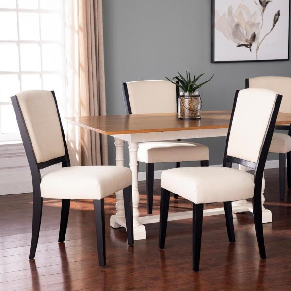Alderna Black and Ivory 39 in. H Upholstered Dining Chairs (Set of 2)