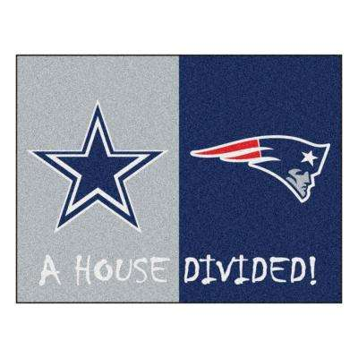 NFL Cowboys / Patriots Gray House Divided 3 ft. x 4 ft. Area Rug