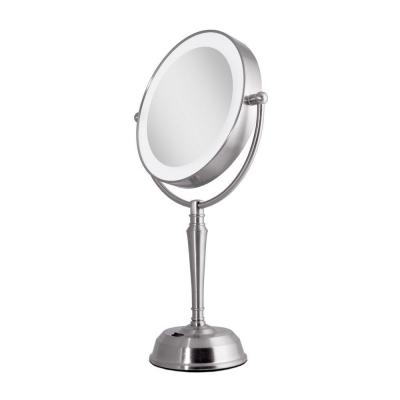 11 in. x 19 in. LED Lighted 10X/1X Vanity Makeup Mirror with USB Port in Satin Nickel