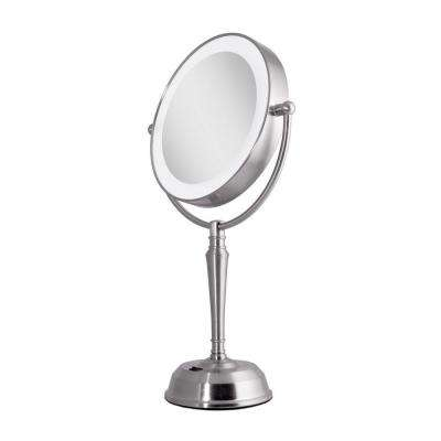 11 in. x 19 in. LED Lighted 10X/1X Vanity Mirror with USB Port in Satin Nickel