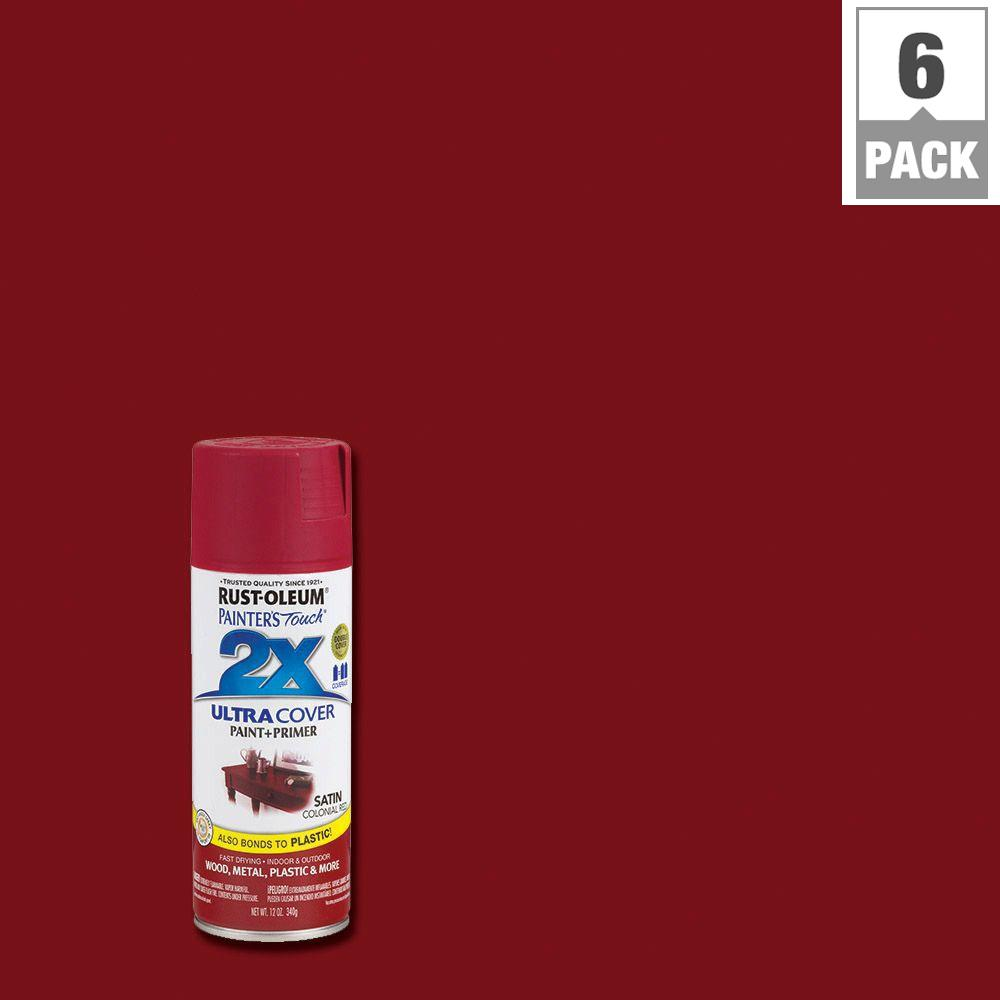 Rust Oleum Painter S Touch 2x 12 Oz Satin Colonial Red General Purpose Spray Paint