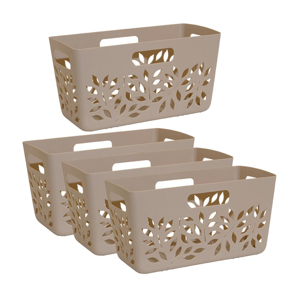 Gourmac Taupe Brown Plastic Pantry Basket 4-Piece Set, Br...