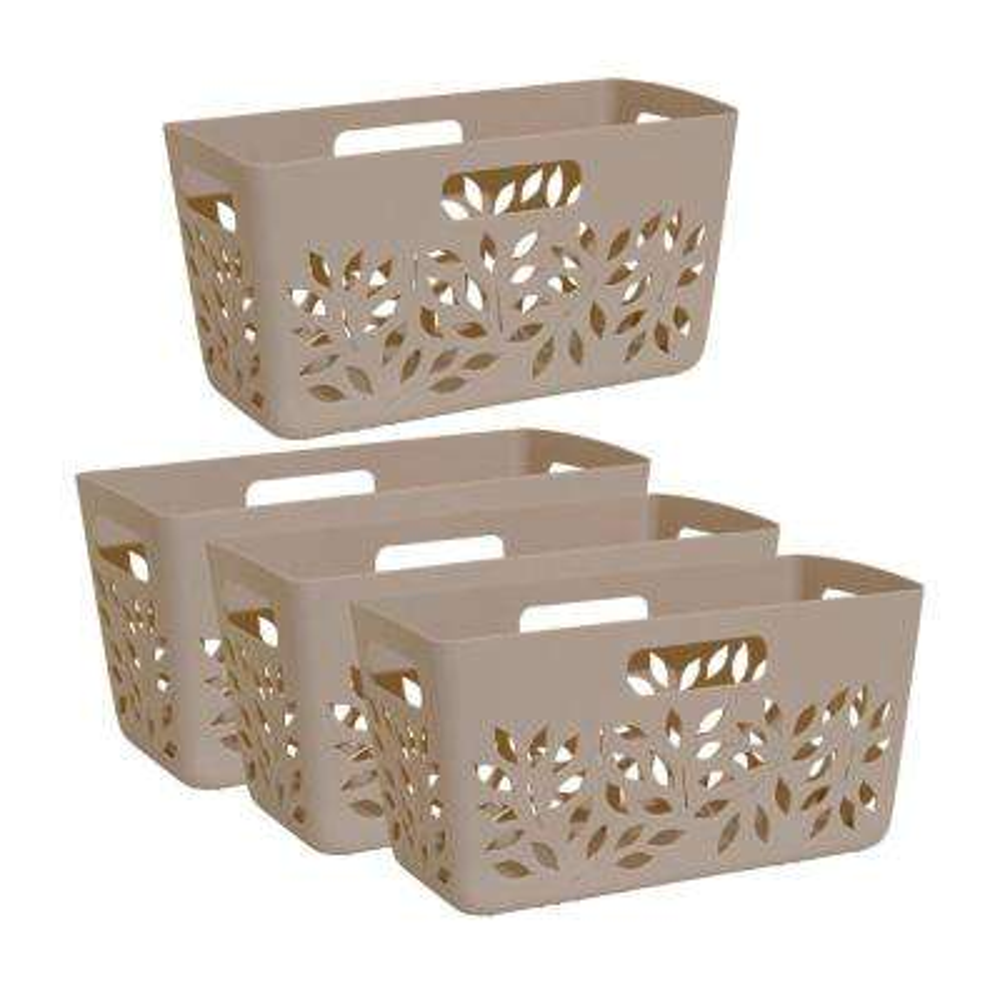 Taupe Brown Plastic Pantry Basket 4-Piece Set
