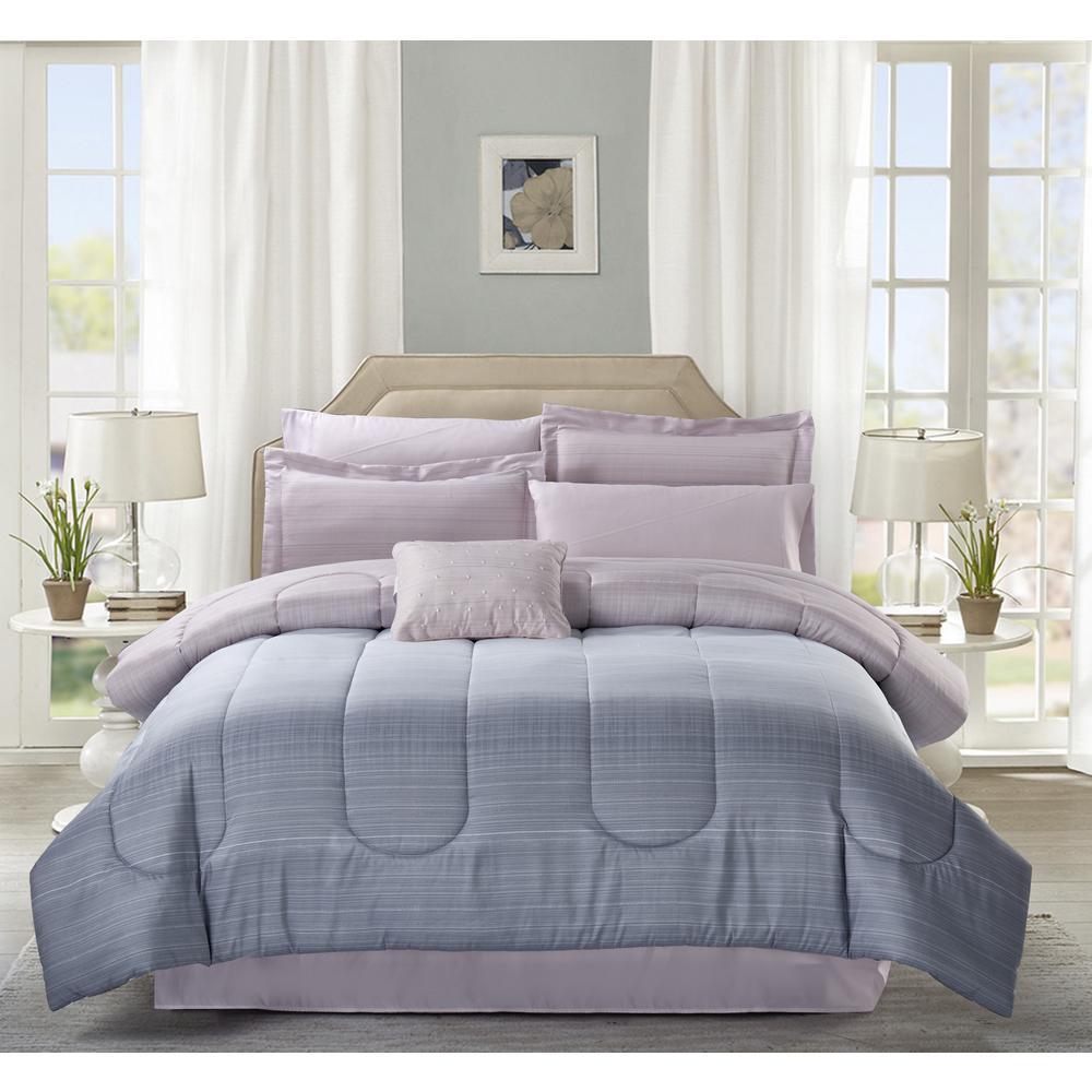 Sophia 9-Piece Grey King Bed-In-Bag Set
