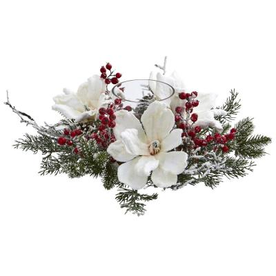 Frosted Magnolia and Berry Artificial Arrangement Candelabrum