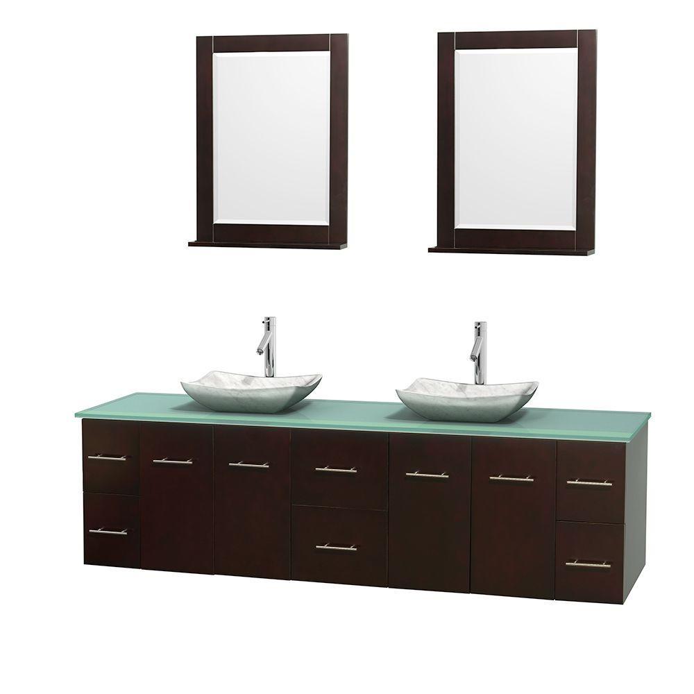 Centra 80 in. Double Vanity in Espresso with Glass Vanity Top