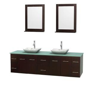 Wyndham Collection Centra 80 inch Double Vanity in Espresso with Glass Vanity Top in Green, Carrera Marble Sinks and 24... by Wyndham Collection