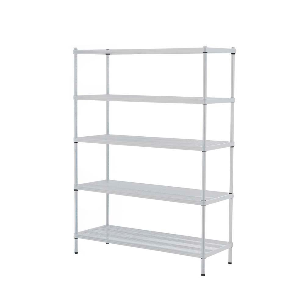 MeshWorks 5-Shelf Metal White Freestanding Shelving Unit