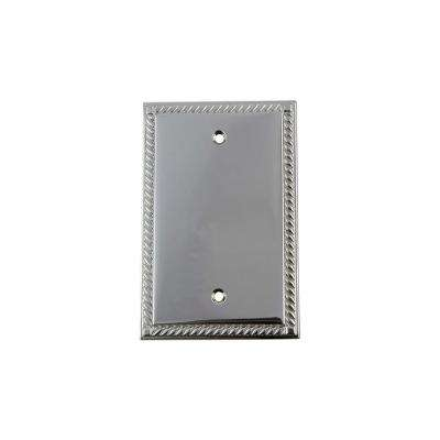 Rope Switch Plate with Blank Cover in Bright Chrome