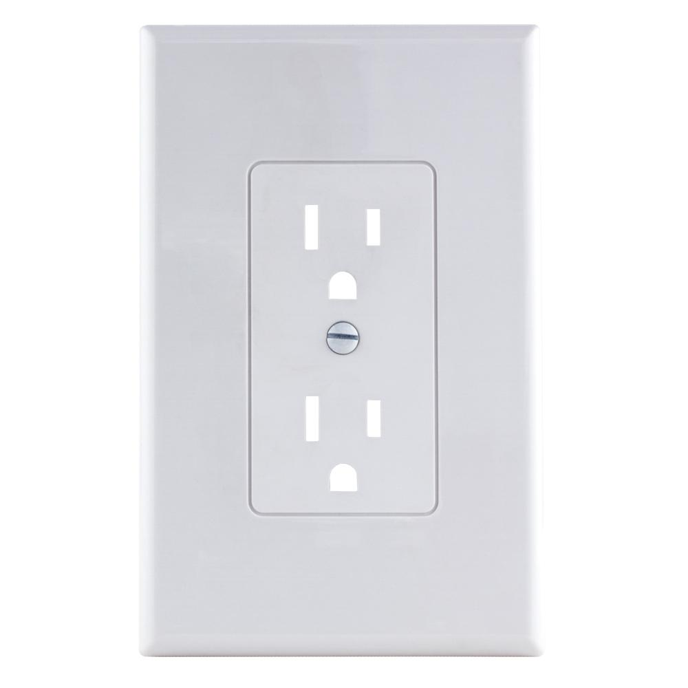 Electrical Wall Plates Commercial Electric 1Gang Decorator Plastic Wall Plate White