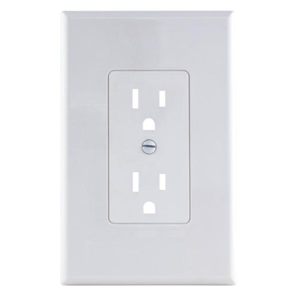1-Gang Decorator Plastic Wall Plate, White Smooth