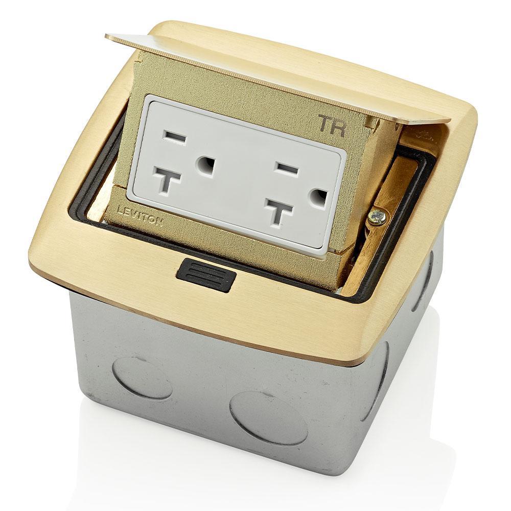 Pop-Up Floor Box with 20 Amp, Tamper-Resistant Outlet, Brass