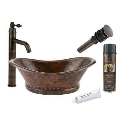 All-in-One Bath Tub Vessel Hammered Copper Bathroom Sink in Oil Rubbed Bronze