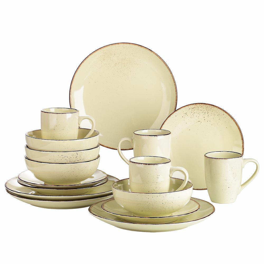 Series Navia Nature Dinner Set 16-Pieces Vintage Cream Prcelain with Dinner/Dessert Plate/Cereal Bowl /Mug Service for 4