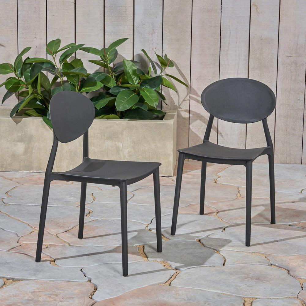 Molded Plastic Patio Furniture.Noble House Westlake Black Armless Plastic Outdoor Dining Chairs 2 Pack