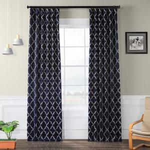Semi-Opaque Seville Navy Blackout Curtain - 50 in. W x 96 in. L (Panel)