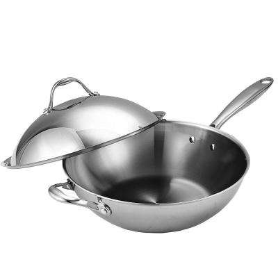 13 in. Multi-Ply Clad Stainless Steel Wok Stir Fry Pan with Dome Lid