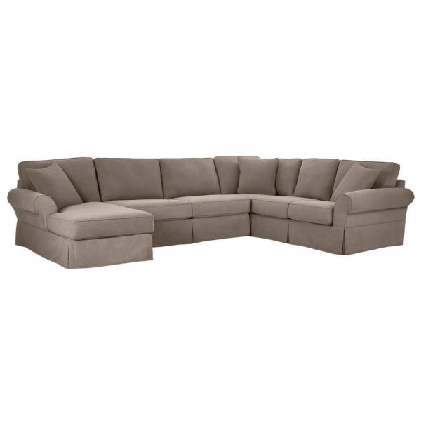 Home Decorators Collection Hillbrook Essence Gray Polyester 6 Seater U Shaped Right Facing Sectional Sofa With Removable Cushions P26zf18gr The Home Depot