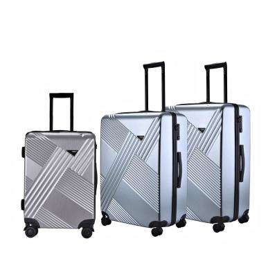 3-Piece Silver Hardside Vertical Luggage Checked Bag with Spinner Wheels