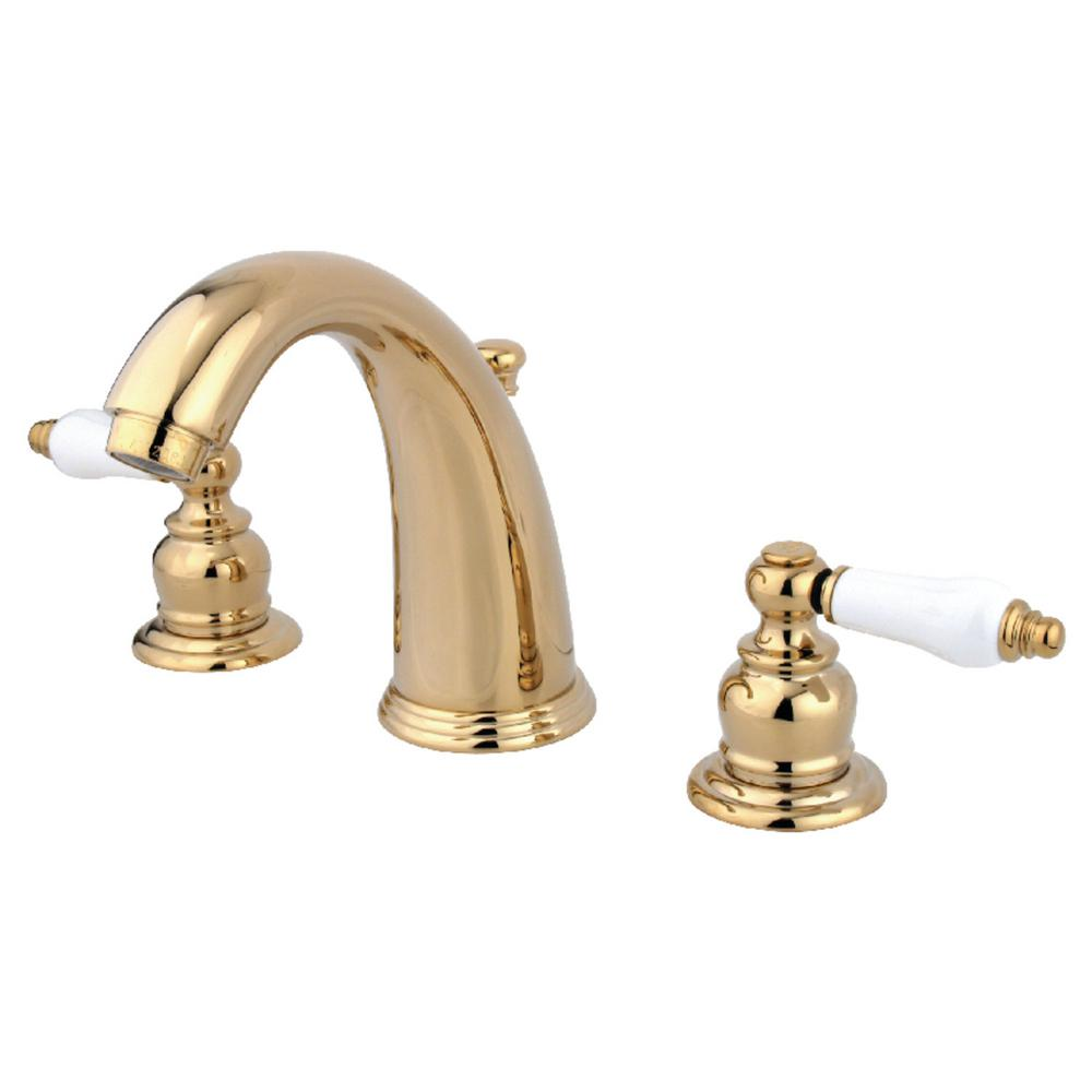 Kingston Brass Victorian 8 In. Widespread 2-Handle Bathroom Faucet In Polished Brass-HKB982PL