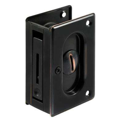 3-3/4 in. Classic Bronze Pocket Door Privacy Lock with Pull