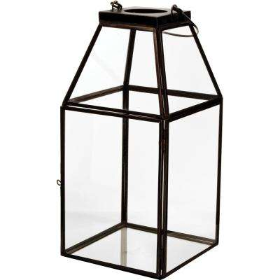 Mika 4.5 in. W x 10 in. H Black Faceted Glass Lantern Terrarium