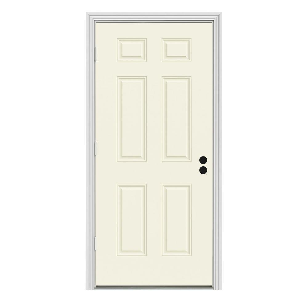 JELD-WEN 32 in. x 80 in. 6-Panel Vanilla Painted Steel Prehung Right-Hand Outswing Front Door w/Brickmould