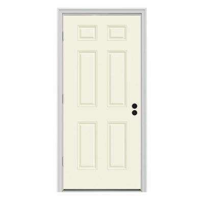 34 in. x 80 in. 6-Panel Vanilla Painted Steel Prehung Right-Hand Outswing Front Door w/Brickmould