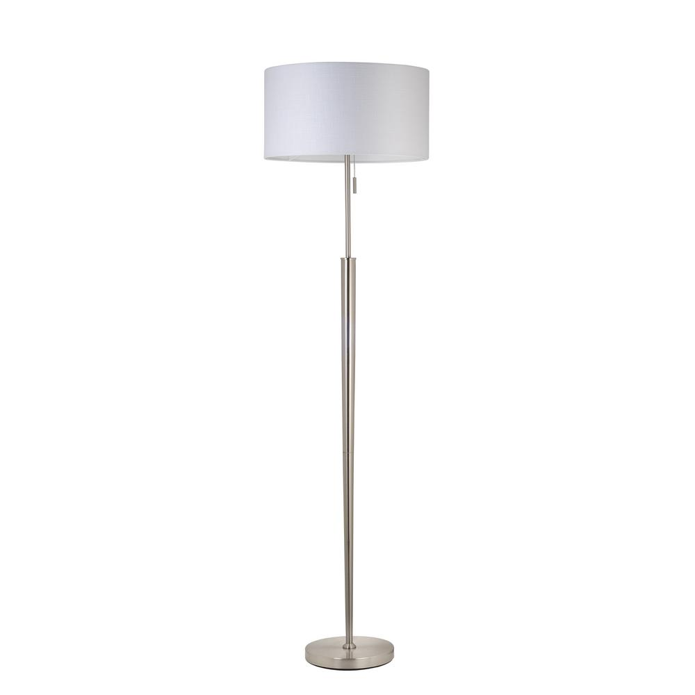 Safavieh Theo 60 In Nickel Floor Lamp With Off White Shade Lit4340a The Home Depot