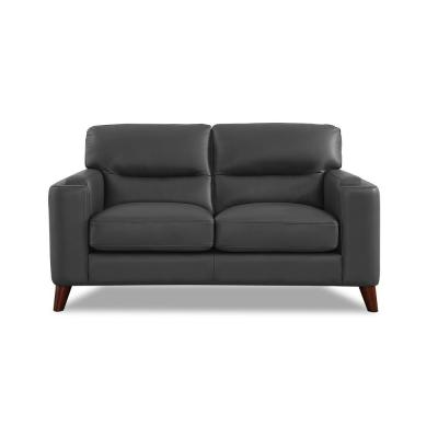 Elm 65 in. Gray Leather 2-Seater Loveseat with Removable Cushions