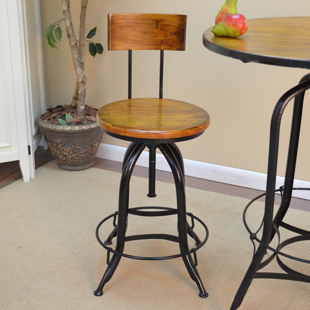 Ryder Adjustable Height Black And Chestnut Bar Stool
