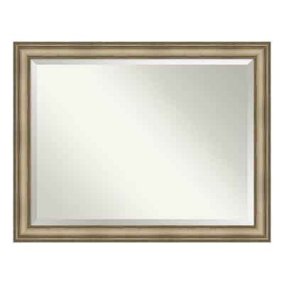 Medium Rectangle Antique Silver Beveled Glass Modern Mirror (35.38 in. H x 45.38 in. W)