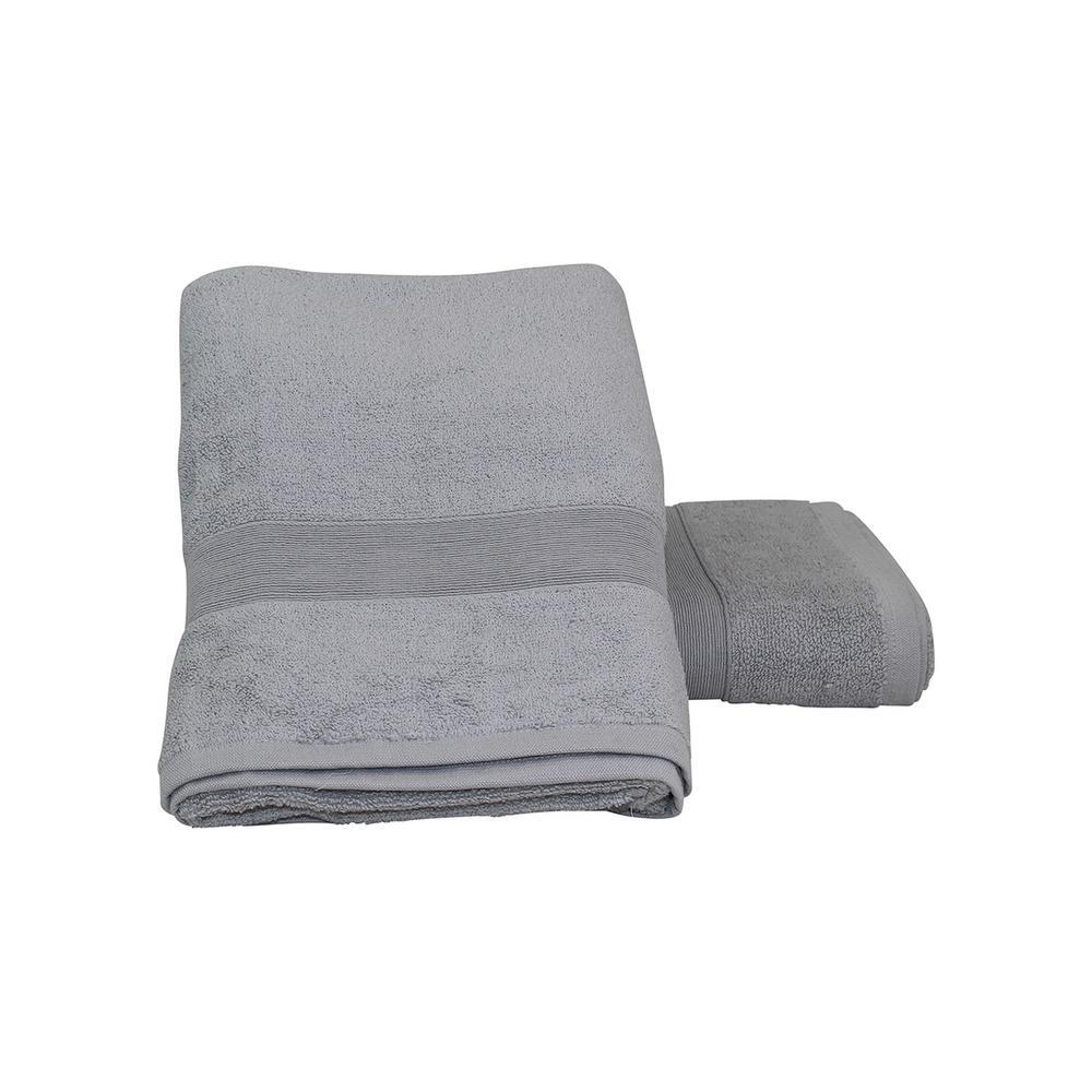 Luxury 2-Piece Cotton Bath Towels in Gray